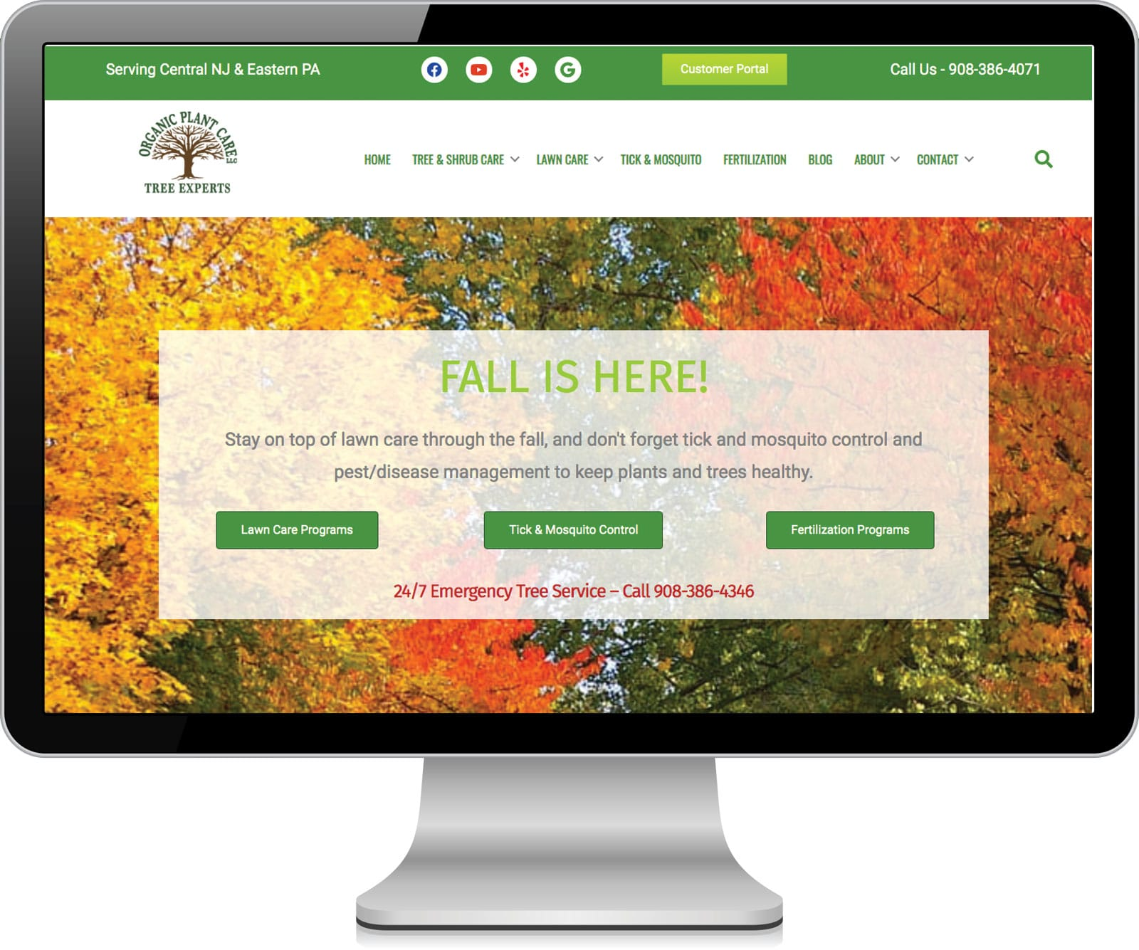 website screenshot for Organic Plant Care LLC in Flemington, NJ
